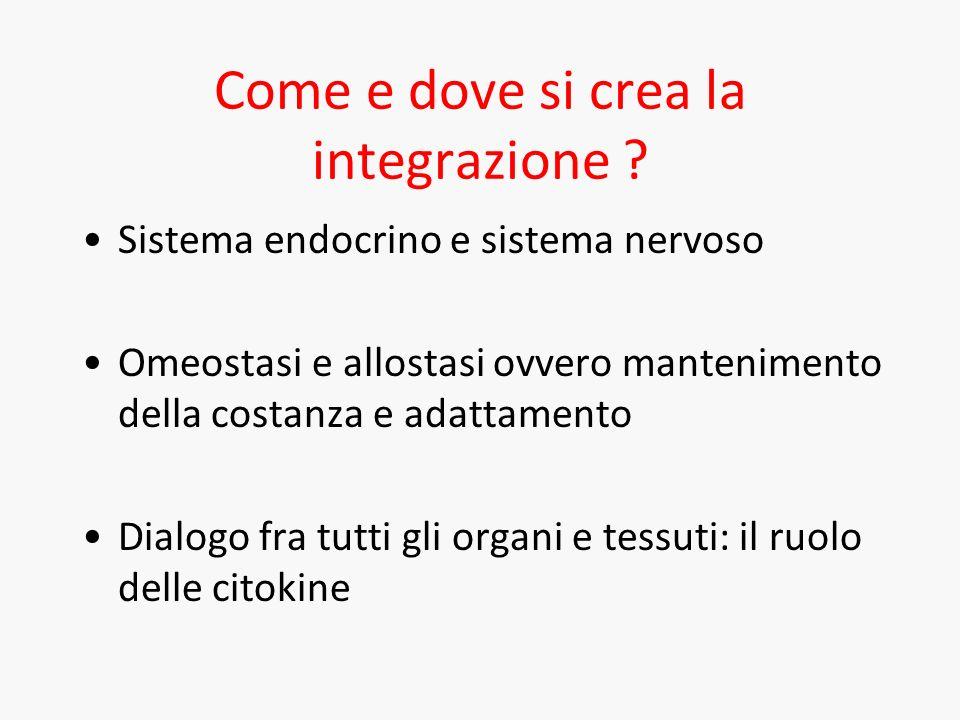 Come e dove si crea la integrazione ? Sistema endocrino e sistema nervoso Omeostasi e allostasi ovvero mantenimento della costanza e adattamento Dialo