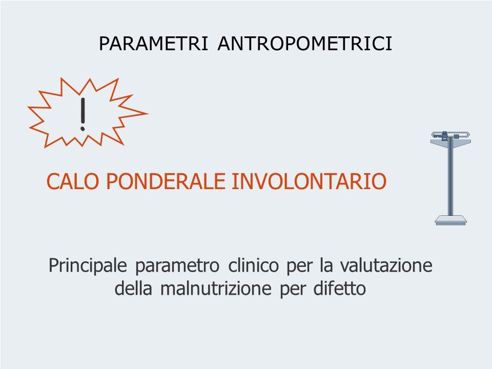 Principale parametro clinico per la valutazione della malnutrizione per difetto ! PARAMETRI ANTROPOMETRICI CALO PONDERALE INVOLONTARIO