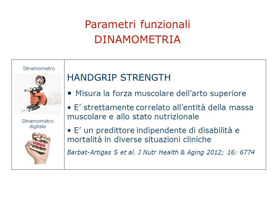 Parametri funzionali DINAMOMETRIA HANDGRIP STRENGTH Misura la forza muscolare dellarto superiore E strettamente correlato allentità della massa muscol