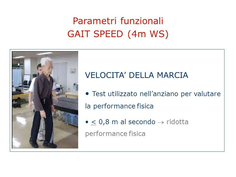 Parametri funzionali GAIT SPEED (4m WS) VELOCITA DELLA MARCIA Test utilizzato nellanziano per valutare la performance fisica < 0,8 m al secondo ridott