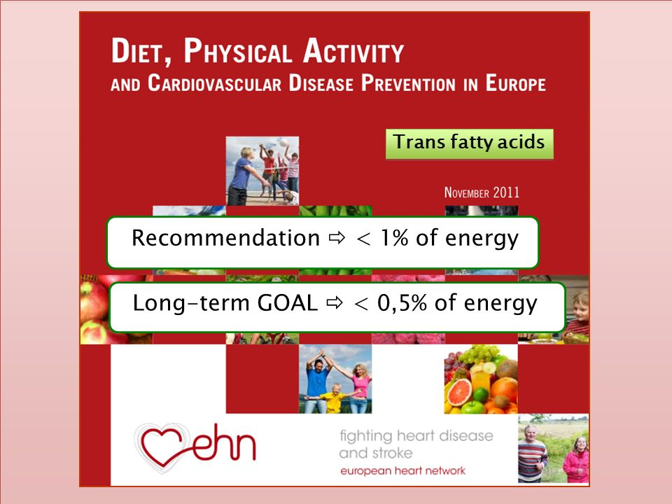 Trans fatty acids Recommendation < 1% of energy Long-term GOAL < 0,5% of energy