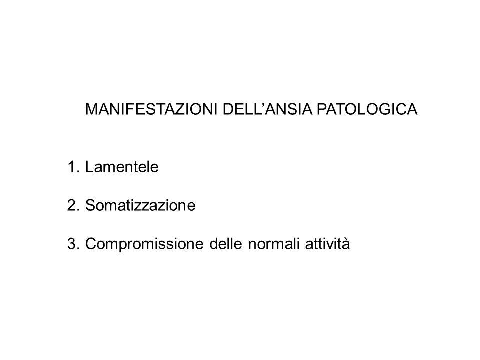 MANIFESTAZIONI DELLANSIA PATOLOGICA 1.Lamentele 2.Somatizzazione 3.Compromissione delle normali attività