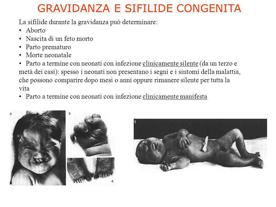 La sifilide durante la gravidanza può determinare: Aborto Nascita di un feto morto Parto prematuro Morte neonatale Parto a termine con neonati con inf