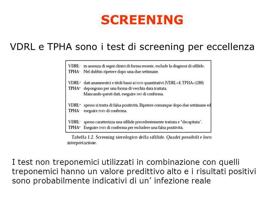SCREENING VDRL e TPHA sono i test di screening per eccellenza I test non treponemici utilizzati in combinazione con quelli treponemici hanno un valore