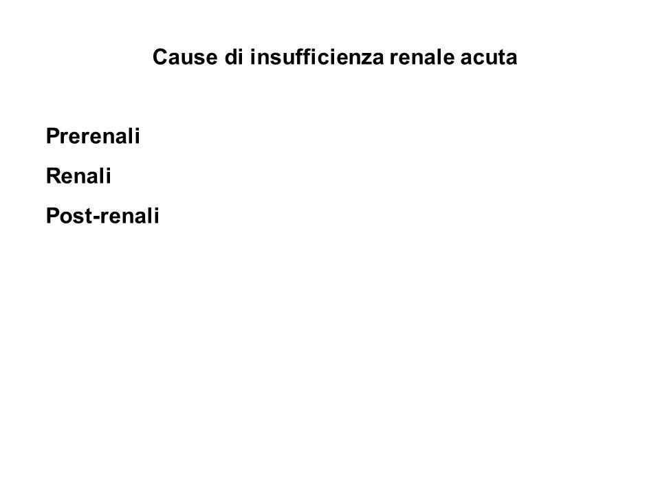 Cause di insufficienza renale acuta Prerenali Renali Post-renali