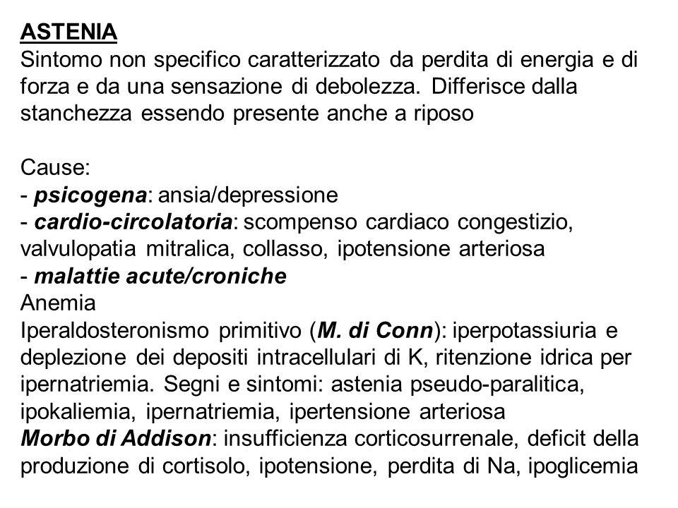 ASTENIA Sintomo non specifico caratterizzato da perdita di energia e di forza e da una sensazione di debolezza.