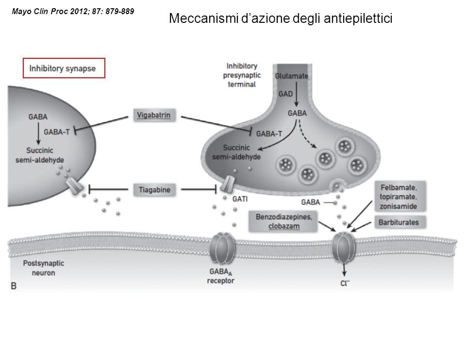 Mayo Clin Proc 2012; 87: 879-889 Meccanismi dazione degli antiepilettici