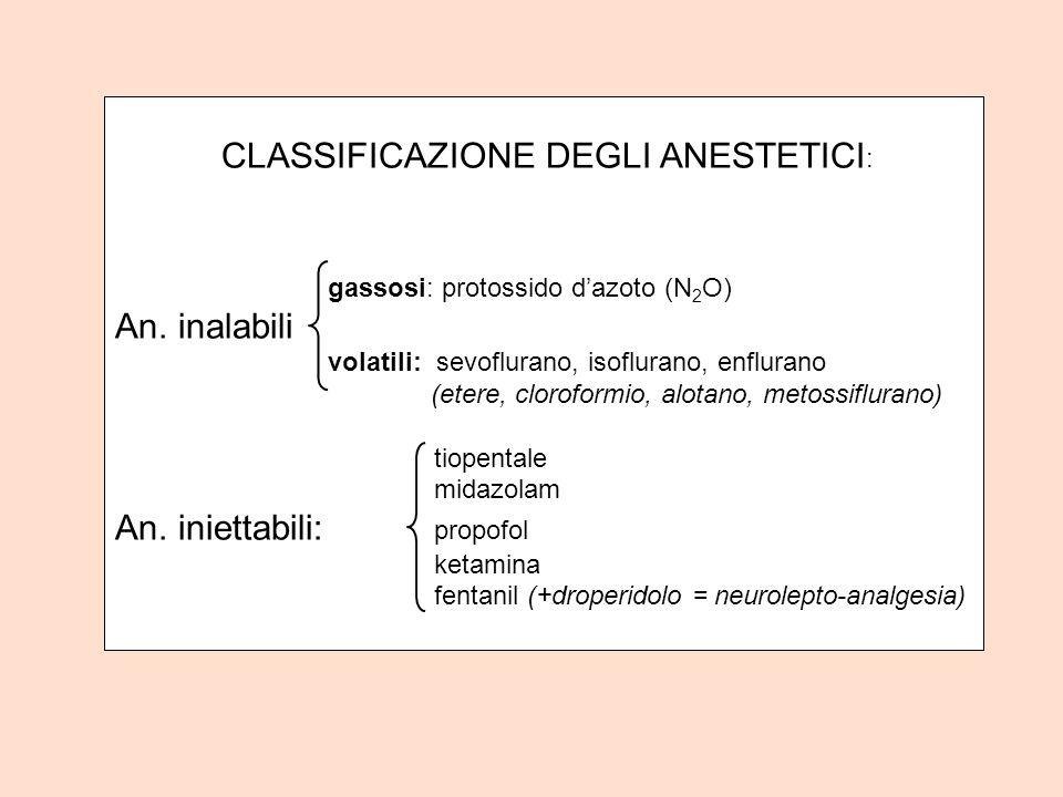 CLASSIFICAZIONE DEGLI ANESTETICI : gassosi: protossido dazoto (N 2 O) An. inalabili volatili: sevoflurano, isoflurano, enflurano (etere, cloroformio,