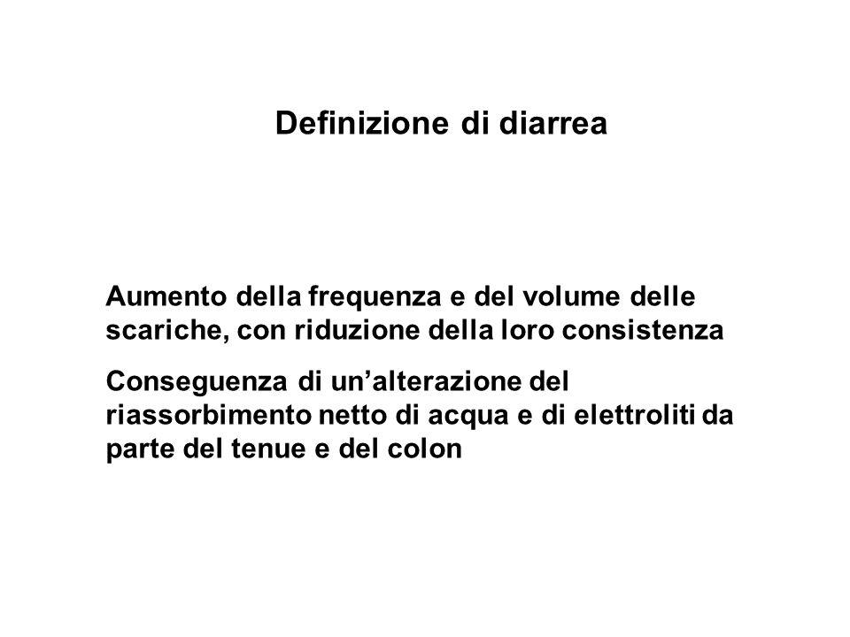 Definizione di diarrea Aumento della frequenza e del volume delle scariche, con riduzione della loro consistenza Conseguenza di unalterazione del rias