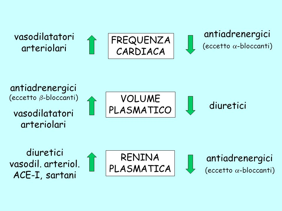 FREQUENZA CARDIACA VOLUME PLASMATICO RENINA PLASMATICA antiadrenergici (eccetto -bloccanti) antiadrenergici (eccetto -bloccanti) vasodilatatori arteri