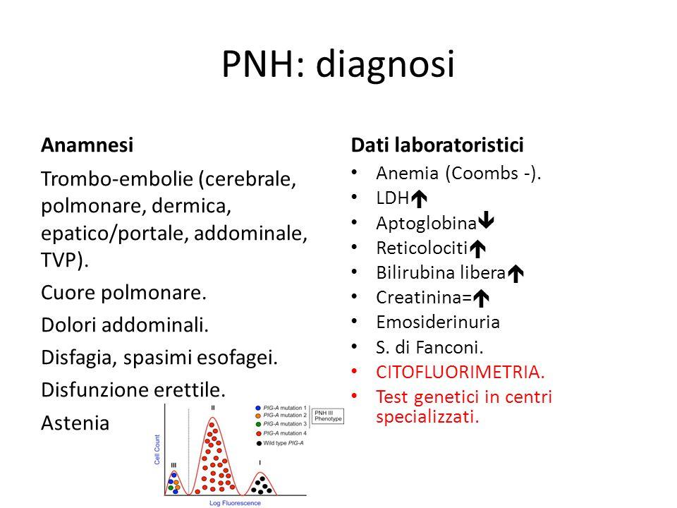 PNH: diagnosi Anamnesi Trombo-embolie (cerebrale, polmonare, dermica, epatico/portale, addominale, TVP). Cuore polmonare. Dolori addominali. Disfagia,