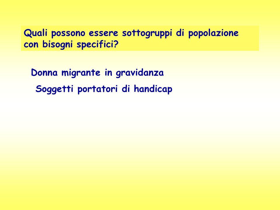 Quali possono essere sottogruppi di popolazione con bisogni specifici? Donna migrante in gravidanza Soggetti portatori di handicap