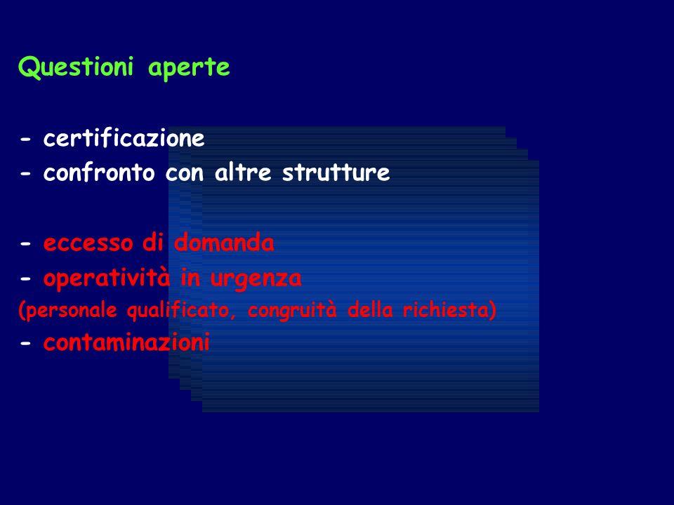 Questioni aperte - certificazione - confronto con altre strutture - eccesso di domanda - operatività in urgenza (personale qualificato, congruità della richiesta) - contaminazioni