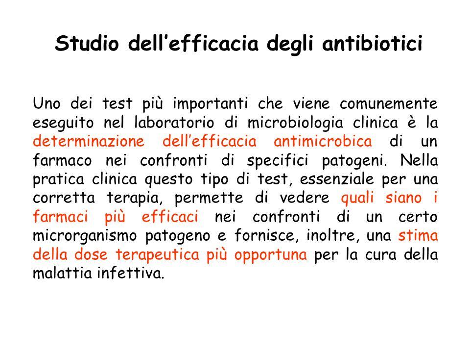 Uno dei test più importanti che viene comunemente eseguito nel laboratorio di microbiologia clinica è la determinazione dellefficacia antimicrobica di un farmaco nei confronti di specifici patogeni.