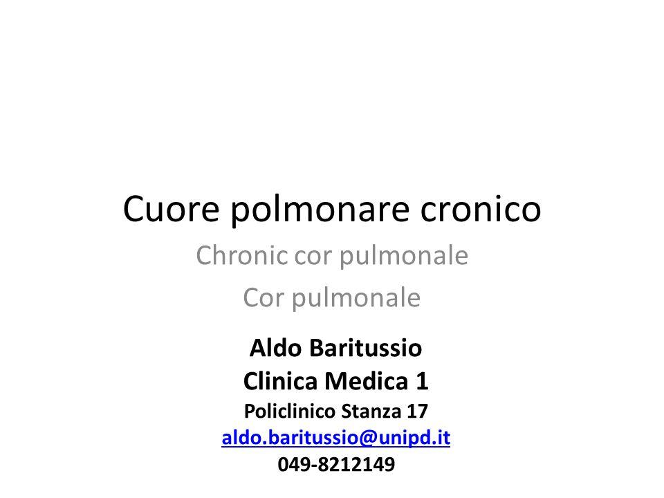 Cuore polmonare cronico Chronic cor pulmonale Cor pulmonale Aldo Baritussio Clinica Medica 1 Policlinico Stanza 17 aldo.baritussio@unipd.it 049-821214