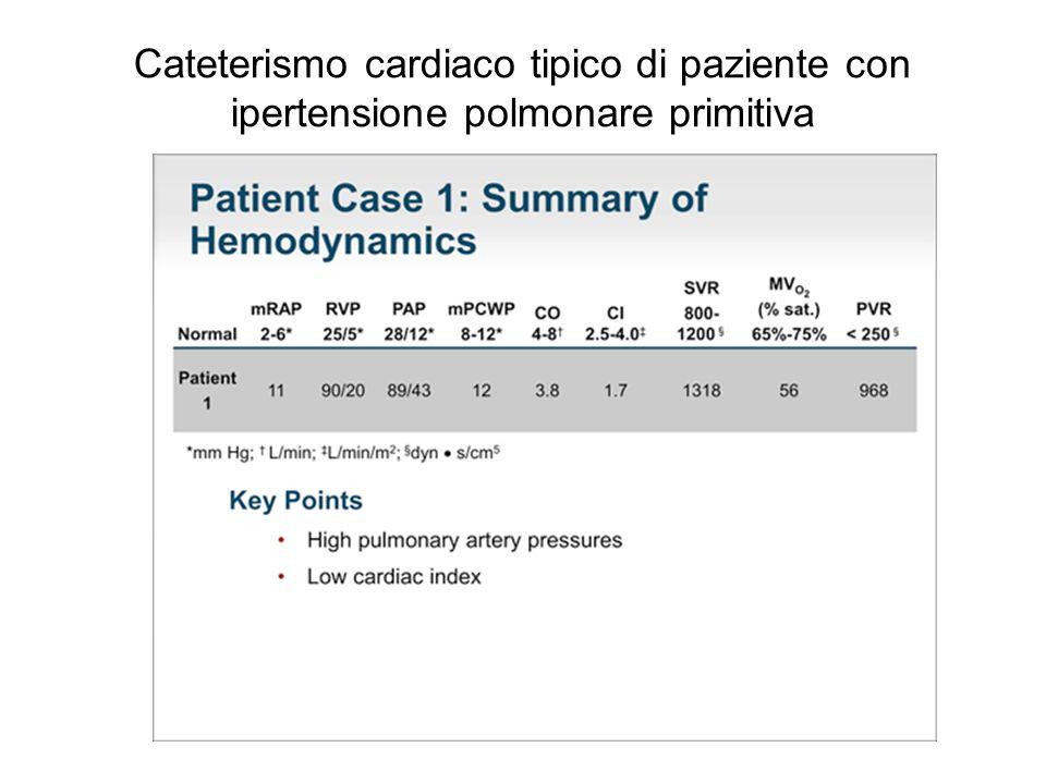 Cateterismo cardiaco tipico di paziente con ipertensione polmonare primitiva