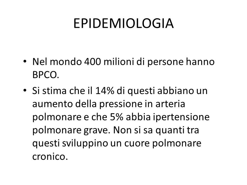 EPIDEMIOLOGIA Nel mondo 400 milioni di persone hanno BPCO. Si stima che il 14% di questi abbiano un aumento della pressione in arteria polmonare e che