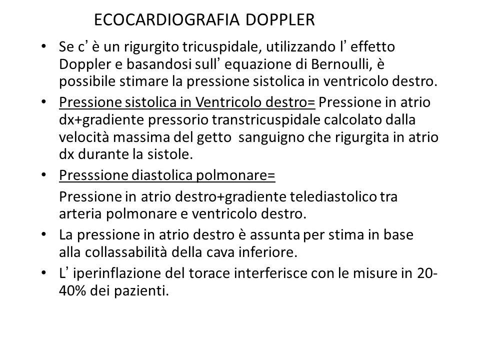 Se c è un rigurgito tricuspidale, utilizzando l effetto Doppler e basandosi sull equazione di Bernoulli, è possibile stimare la pressione sistolica in