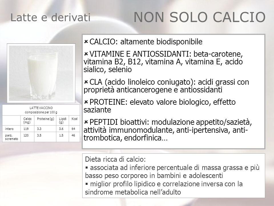 Latte e derivati CALCIO: altamente biodisponibile VITAMINE E ANTIOSSIDANTI: beta-carotene, vitamina B2, B12, vitamina A, vitamina E, acido sialico, se