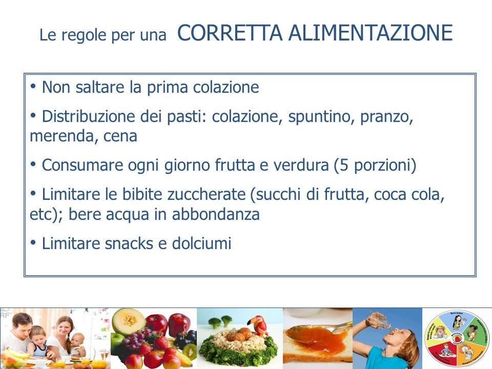 Le regole per una CORRETTA ALIMENTAZIONE Non saltare la prima colazione Distribuzione dei pasti: colazione, spuntino, pranzo, merenda, cena Consumare