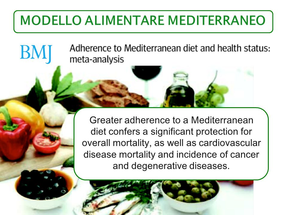 MODELLO ALIMENTARE MEDITERRANEO BMJ 2008; 337:a1344 Greater adherence to a Mediterranean diet confers a significant protection for overall mortality,