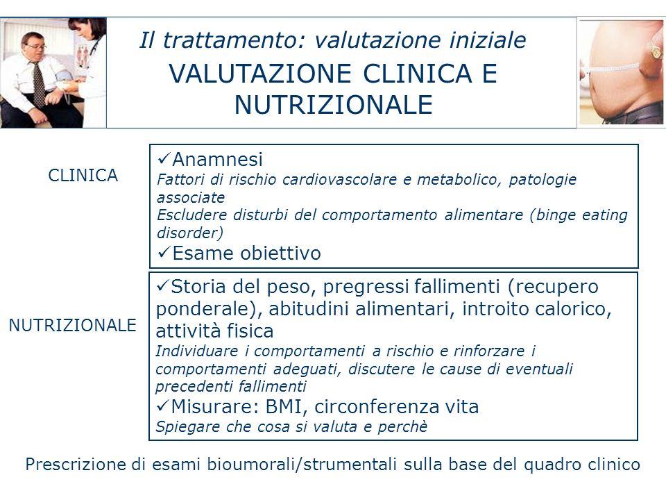 Il trattamento: valutazione iniziale VALUTAZIONE CLINICA E NUTRIZIONALE Anamnesi Fattori di rischio cardiovascolare e metabolico, patologie associate