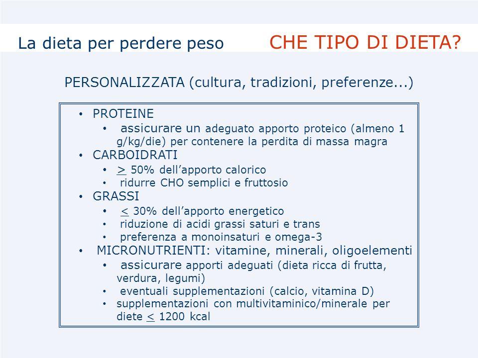PROTEINE assicurare un adeguato apporto proteico (almeno 1 g/kg/die) per contenere la perdita di massa magra CARBOIDRATI > 50% dellapporto calorico ri