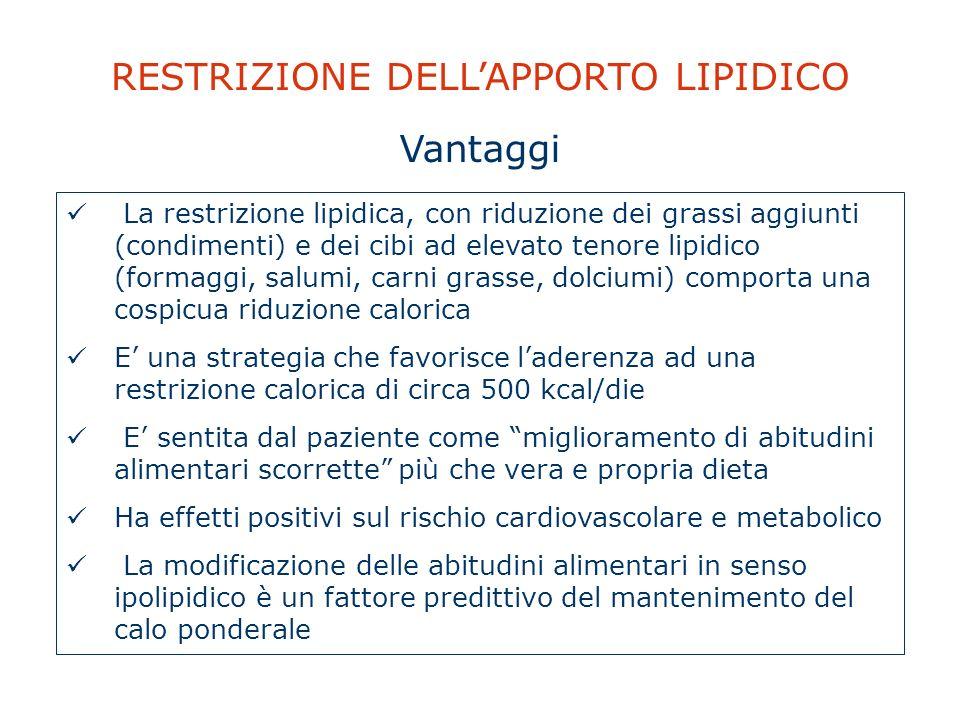 RESTRIZIONE DELLAPPORTO LIPIDICO La restrizione lipidica, con riduzione dei grassi aggiunti (condimenti) e dei cibi ad elevato tenore lipidico (formag