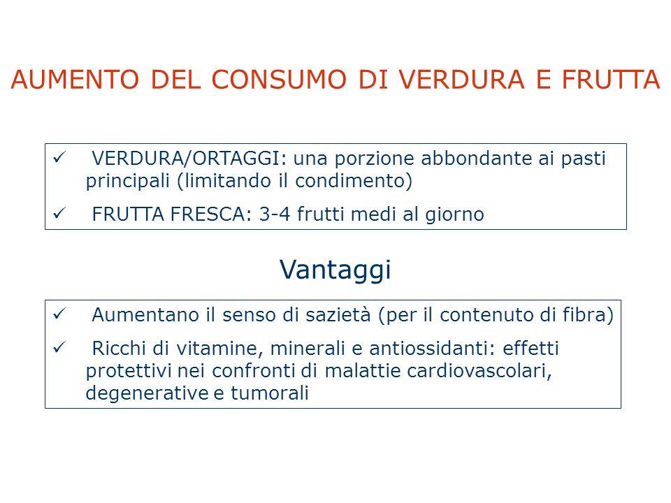AUMENTO DEL CONSUMO DI VERDURA E FRUTTA VERDURA/ORTAGGI: una porzione abbondante ai pasti principali (limitando il condimento) FRUTTA FRESCA: 3-4 frut
