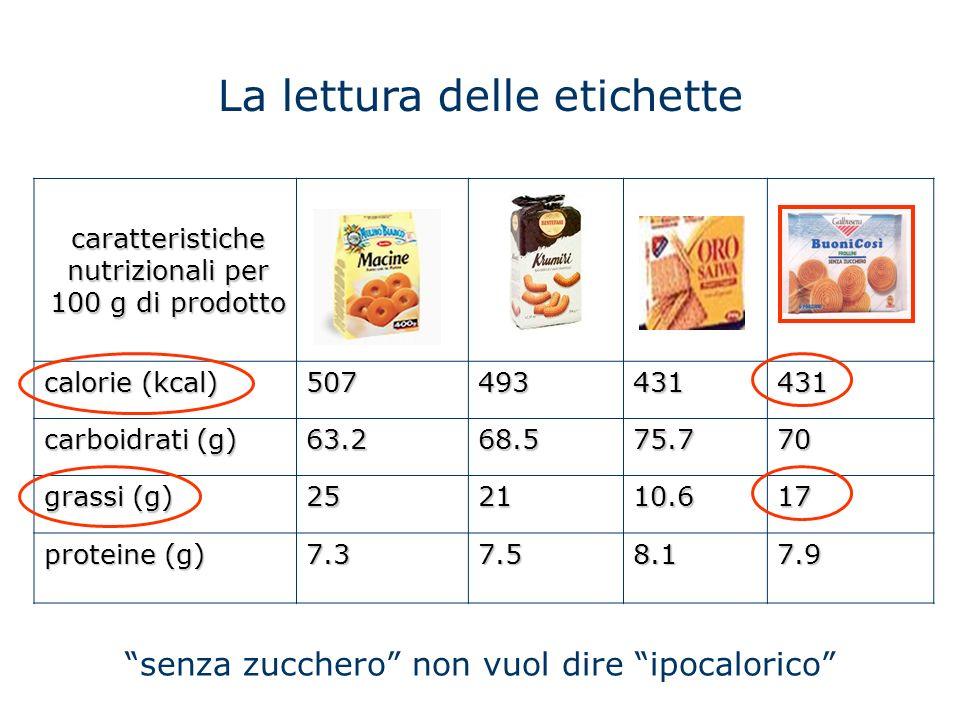La lettura delle etichette caratteristiche nutrizionali per 100 g di prodotto calorie (kcal) 507493431431 carboidrati (g) 63.268.575.770 grassi (g) 25