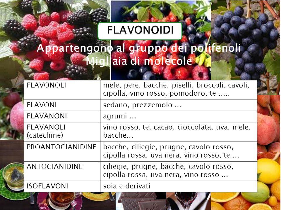 FLAVONOLImele, pere, bacche, piselli, broccoli, cavoli, cipolla, vino rosso, pomodoro, te..... FLAVONIsedano, prezzemolo... FLAVANONIagrumi... FLAVANO
