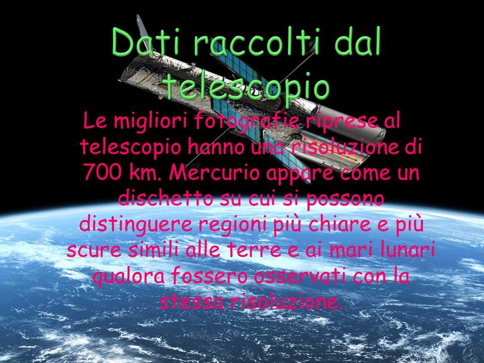 Le migliori fotografie riprese al telescopio hanno una risoluzione di 700 km. Mercurio appare come un dischetto su cui si possono distinguere regioni
