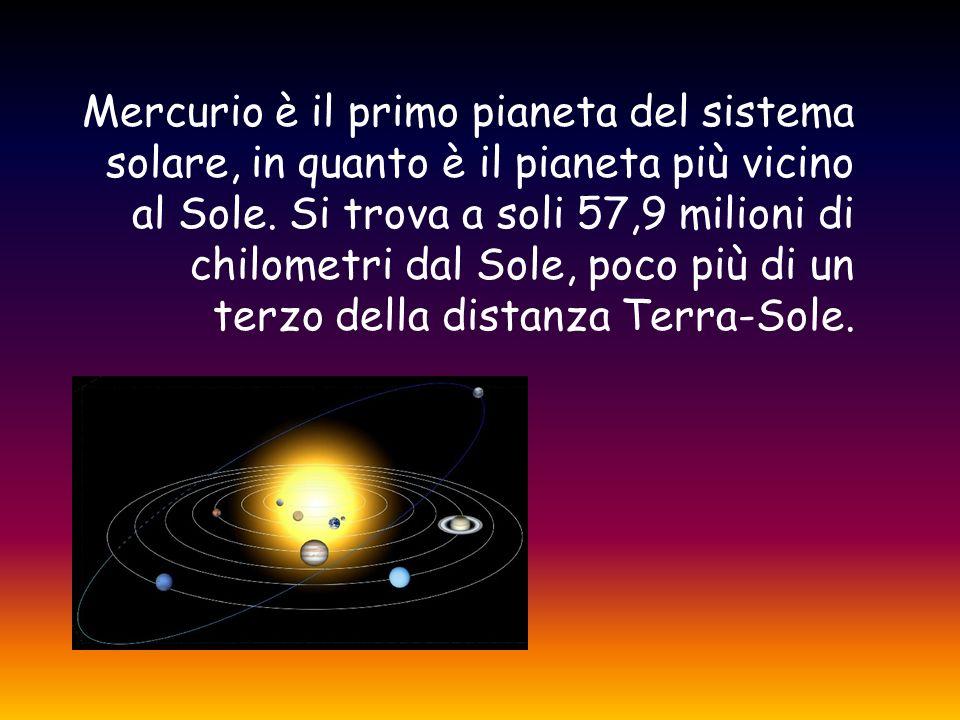 Mercurio è il primo pianeta del sistema solare, in quanto è il pianeta più vicino al Sole. Si trova a soli 57,9 milioni di chilometri dal Sole, poco p