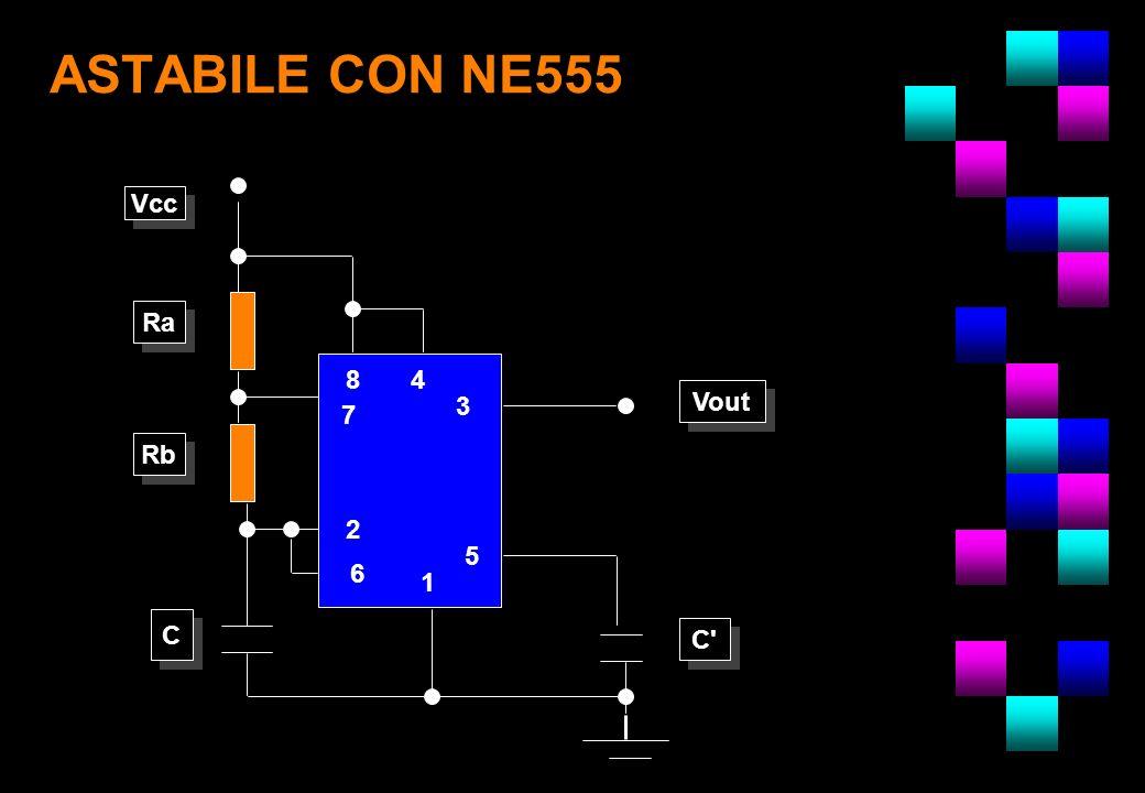 ASTABILE CON NE555 Vcc Vout Ra Rb C C C' 8 7 2 6 1 5 3 4