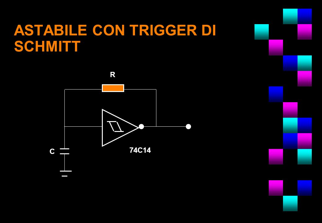 ASTABILE CON TRIGGER DI SCHMITT R C 74C14