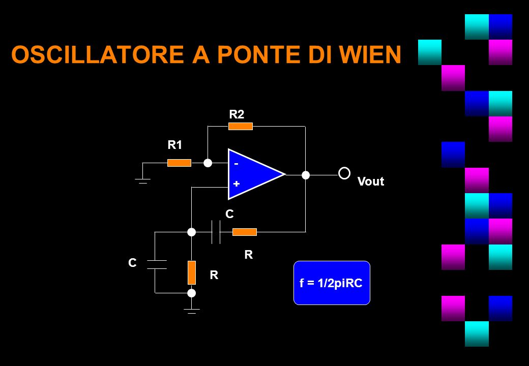 OSCILLATORE A PONTE DI WIEN R R1 R2 R C C - Vout f = 1/2piRC - +