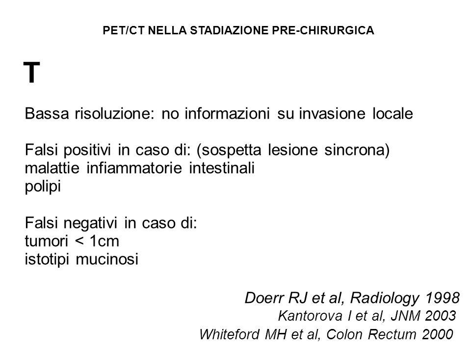 T Whiteford MH et al, Colon Rectum 2000 Doerr RJ et al, Radiology 1998 Kantorova I et al, JNM 2003 Bassa risoluzione: no informazioni su invasione loc