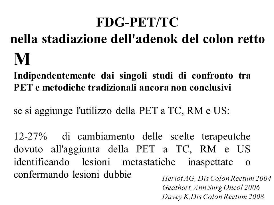 FDG-PET/TC nella stadiazione dell adenok del colon retto M Indipendentemente dai singoli studi di confronto tra PET e metodiche tradizionali ancora non conclusivi se si aggiunge l utilizzo della PET a TC, RM e US: 12-27% di cambiamento delle scelte terapeutche dovuto all aggiunta della PET a TC, RM e US identificando lesioni metastatiche inaspettate o confermando lesioni dubbie Heriot AG, Dis Colon Rectum 2004 Geathart, Ann Surg Oncol 2006 Davey K,Dis Colon Rectum 2008