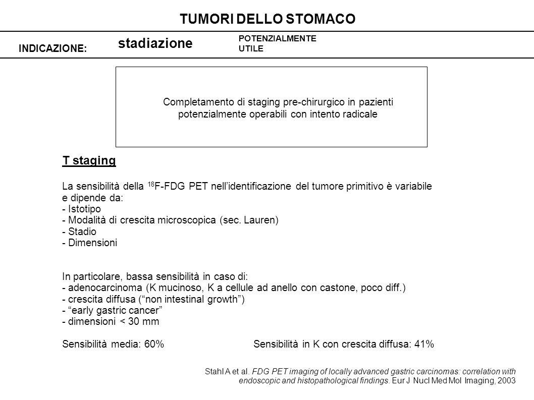 stadiazione INDICAZIONE: TUMORI DELLO STOMACO POTENZIALMENTE UTILE Completamento di staging pre-chirurgico in pazienti potenzialmente operabili con in