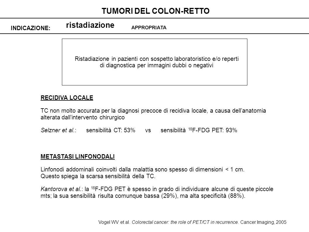 ristadiazione INDICAZIONE: TUMORI DEL COLON-RETTO APPROPRIATA Ristadiazione in pazienti con sospetto laboratoristico e/o reperti di diagnostica per im