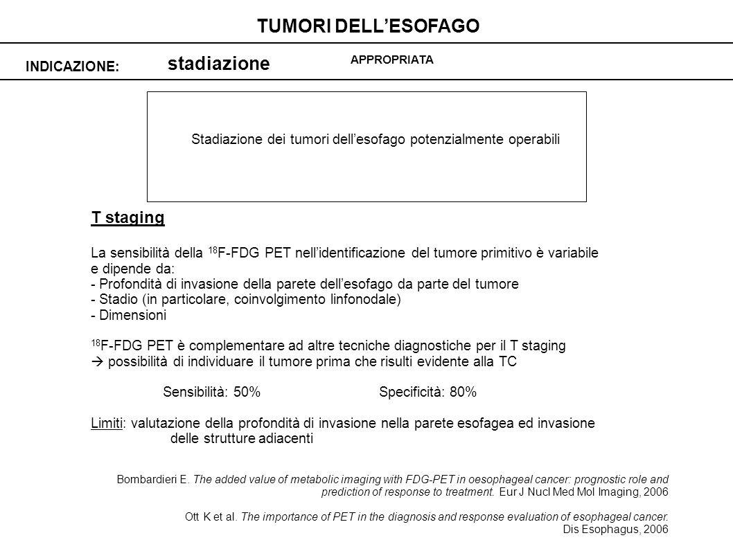stadiazione INDICAZIONE: TUMORI DELLESOFAGO APPROPRIATA Stadiazione dei tumori dellesofago potenzialmente operabili T staging La sensibilità della 18