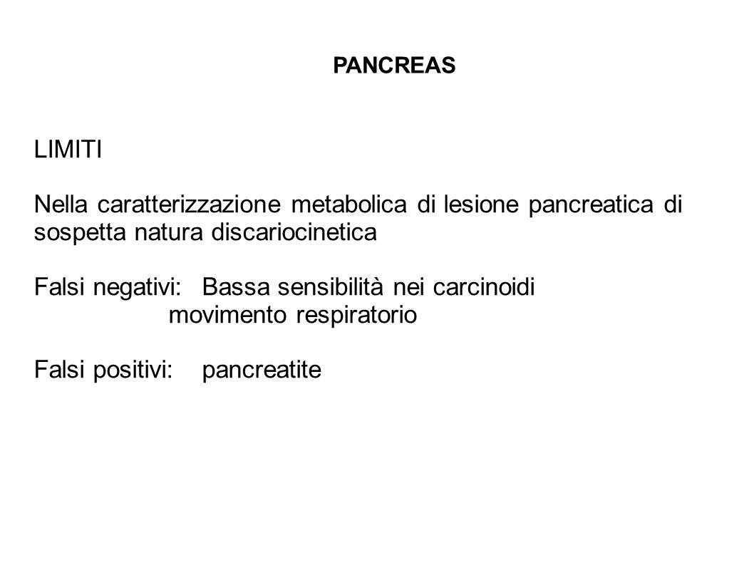 LIMITI Nella caratterizzazione metabolica di lesione pancreatica di sospetta natura discariocinetica Falsi negativi:Bassa sensibilità nei carcinoidi m
