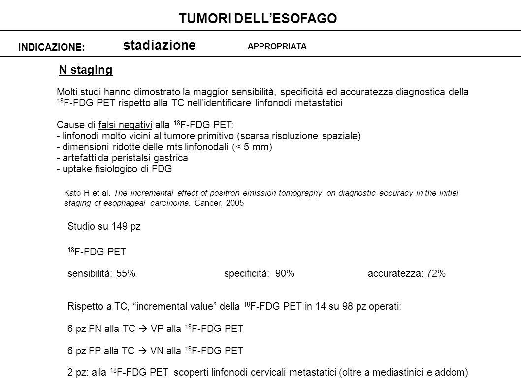 stadiazione INDICAZIONE: TUMORI DELLESOFAGO APPROPRIATA N staging Molti studi hanno dimostrato la maggior sensibilità, specificità ed accuratezza diag