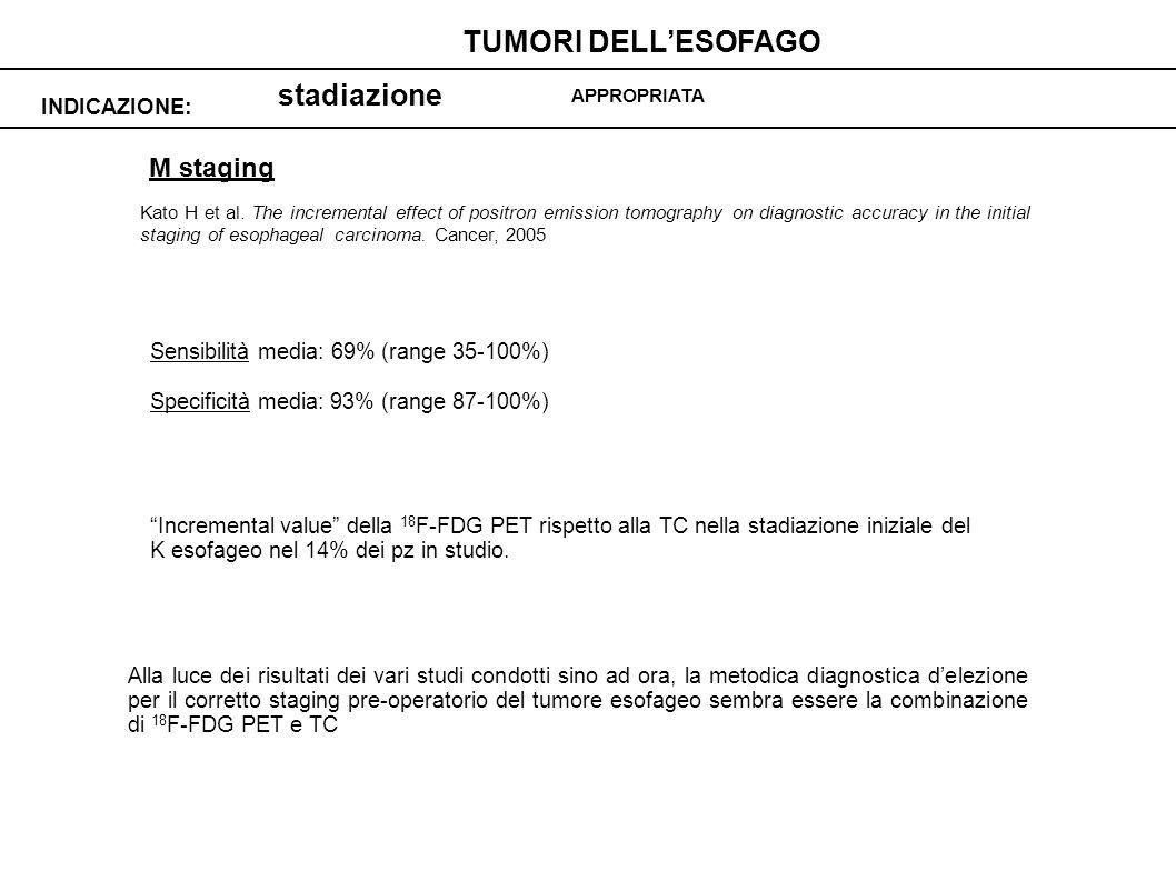 stadiazione INDICAZIONE: TUMORI DELLESOFAGO APPROPRIATA M staging Sensibilità media: 69% (range 35-100%) Specificità media: 93% (range 87-100%) Increm