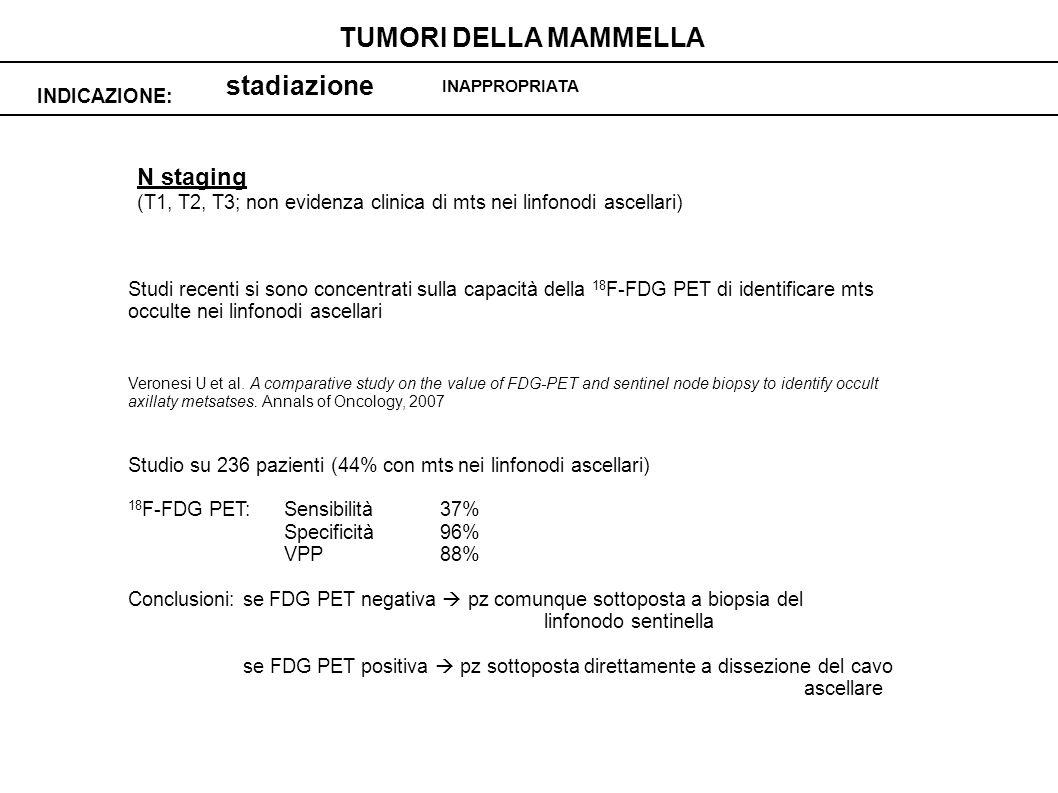 stadiazione INDICAZIONE: TUMORI DELLA MAMMELLA INAPPROPRIATA N staging (T1, T2, T3; non evidenza clinica di mts nei linfonodi ascellari) Studi recenti si sono concentrati sulla capacità della 18 F-FDG PET di identificare mts occulte nei linfonodi ascellari Veronesi U et al.