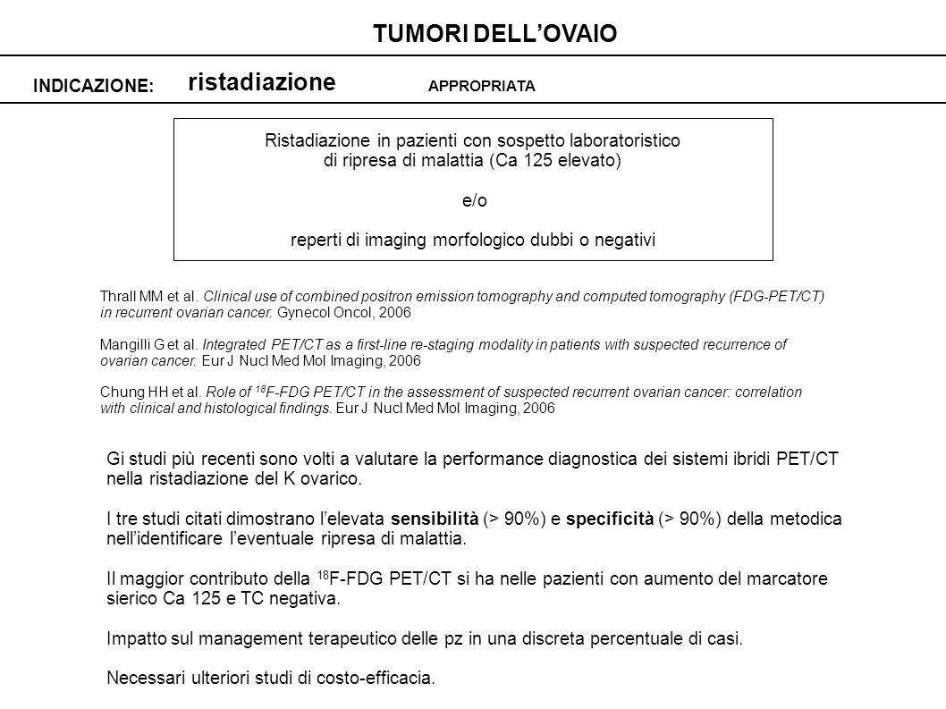 ristadiazione INDICAZIONE: TUMORI DELLOVAIO APPROPRIATA Ristadiazione in pazienti con sospetto laboratoristico di ripresa di malattia (Ca 125 elevato) e/o reperti di imaging morfologico dubbi o negativi Thrall MM et al.