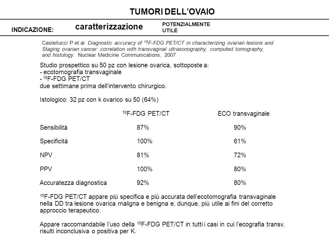 caratterizzazione INDICAZIONE: TUMORI DELLOVAIO POTENZIALMENTE UTILE Castellucci P et al.