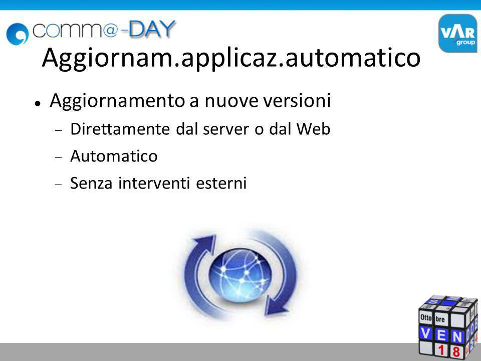 Aggiornam.applicaz.automatico Aggiornamento a nuove versioni Direttamente dal server o dal Web Automatico Senza interventi esterni