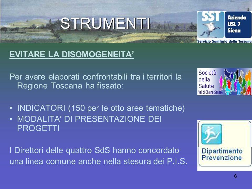 6 STRUMENTI EVITARE LA DISOMOGENEITA Per avere elaborati confrontabili tra i territori la Regione Toscana ha fissato: INDICATORI (150 per le otto aree tematiche) MODALITA DI PRESENTAZIONE DEI PROGETTI I Direttori delle quattro SdS hanno concordato una linea comune anche nella stesura dei P.I.S.