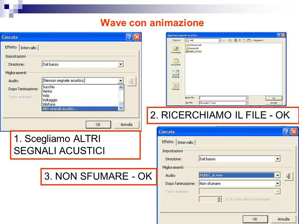 Wave con animazione 1. Scegliamo ALTRI SEGNALI ACUSTICI 2.
